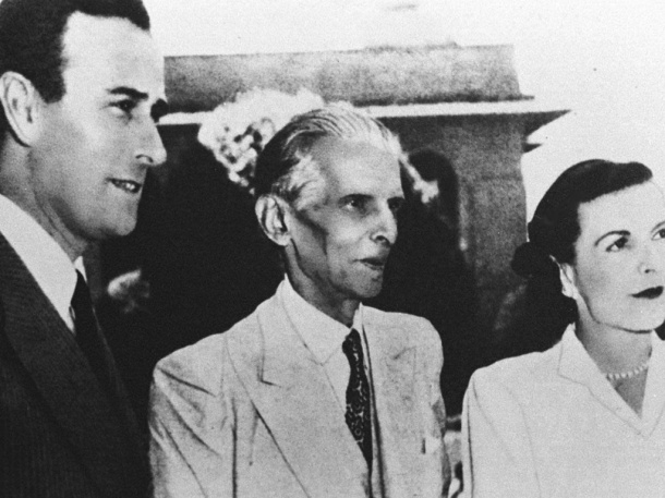 FILE--Mohammad Ali Jinnah, center, founder of Pakistan, Lord Mountbatten, left, last British viceroy and Lady Mountbatten are seen in this 1947 file photo. Jinnah and Mountbaton played a key role in partition of India in 1947.